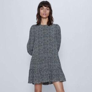 Zara Black + White Dot Spring Mini Dress, Large